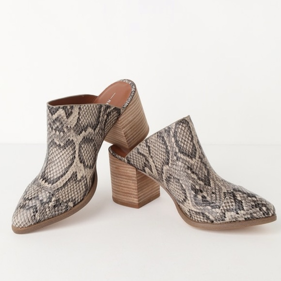 Womens Pointed Toe Slip on Mules Western Snake Chunky Stacked Mid Heel Clogs